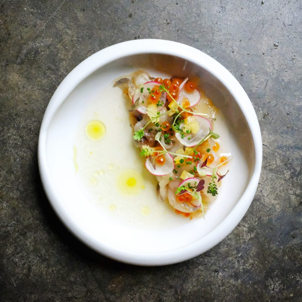 Cured Kulbarra Barramundi, preserved lemon dashi, preserved lemon, ikura, buckwheat, lemon oil